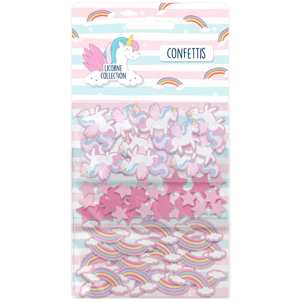 Trios confettis \'Licorne My Unicorn\' rose - sachet 30x10 cm - [Q7303]