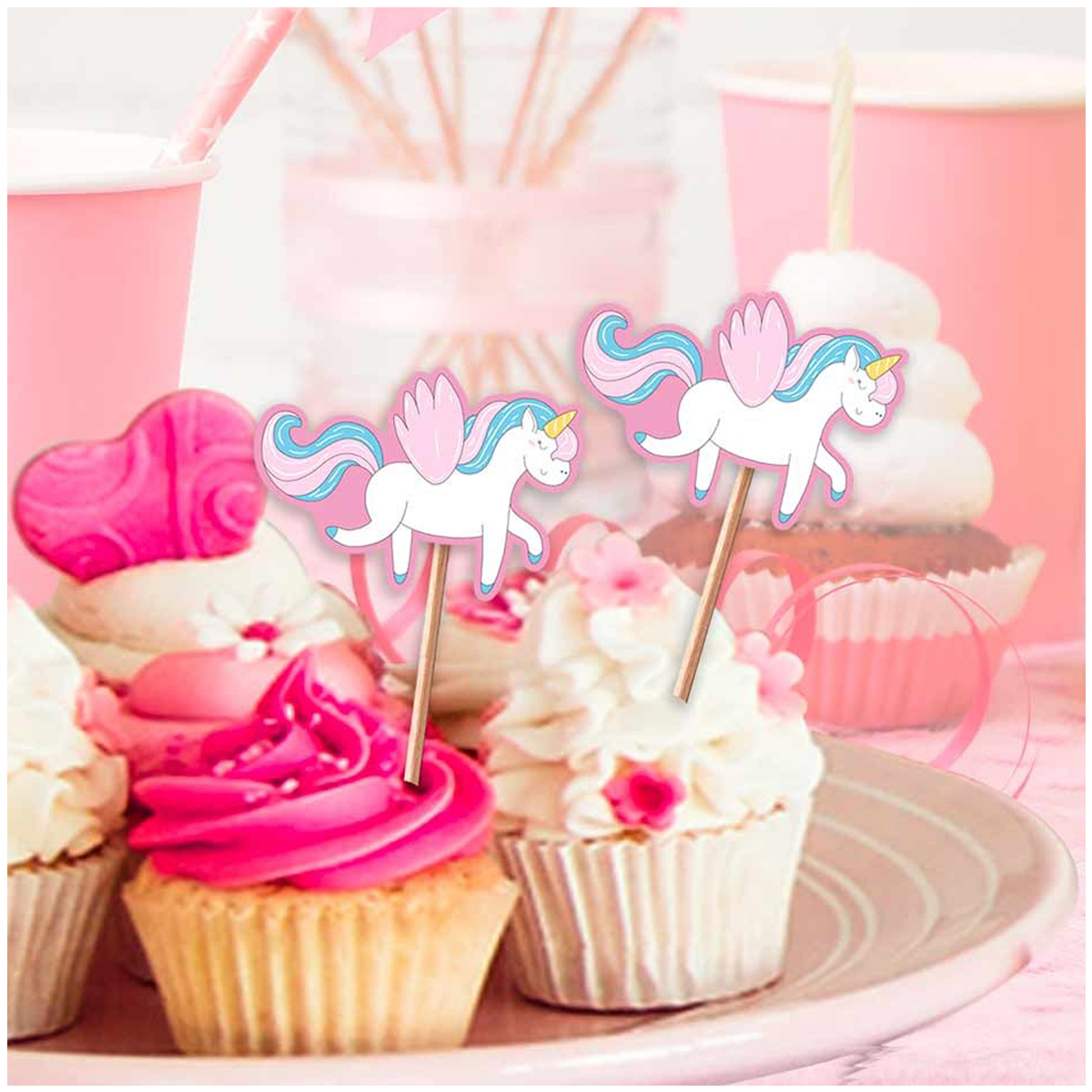 12 pics à gateau \'Licorne My Unicorn\' rose multicolore - 10 cm - [Q7304]