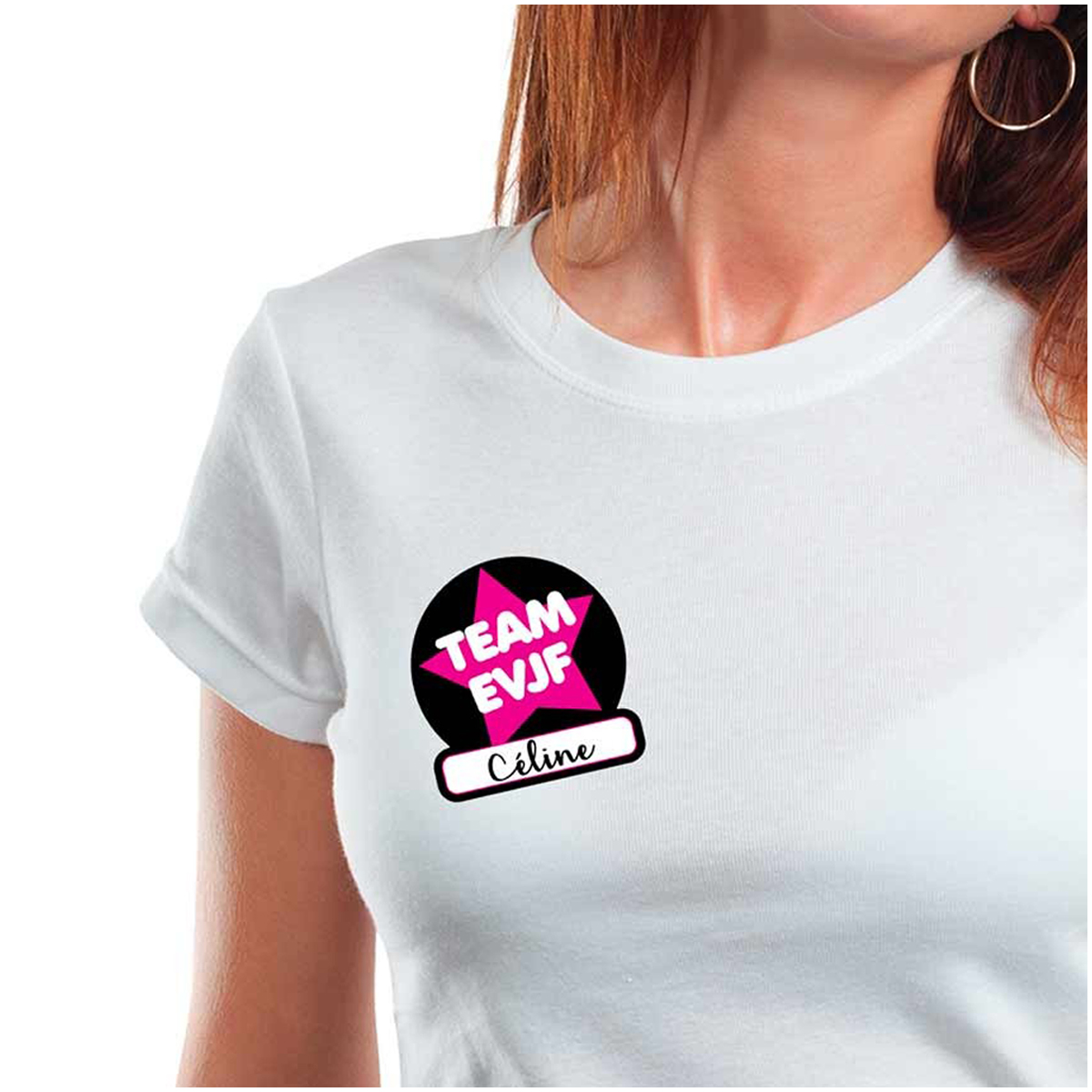 Set de 12 stickers t-shirts \'Enterrement de vie de jeune fille\' noir rose (Team EVJF) - 85x8 cm - [Q7307]