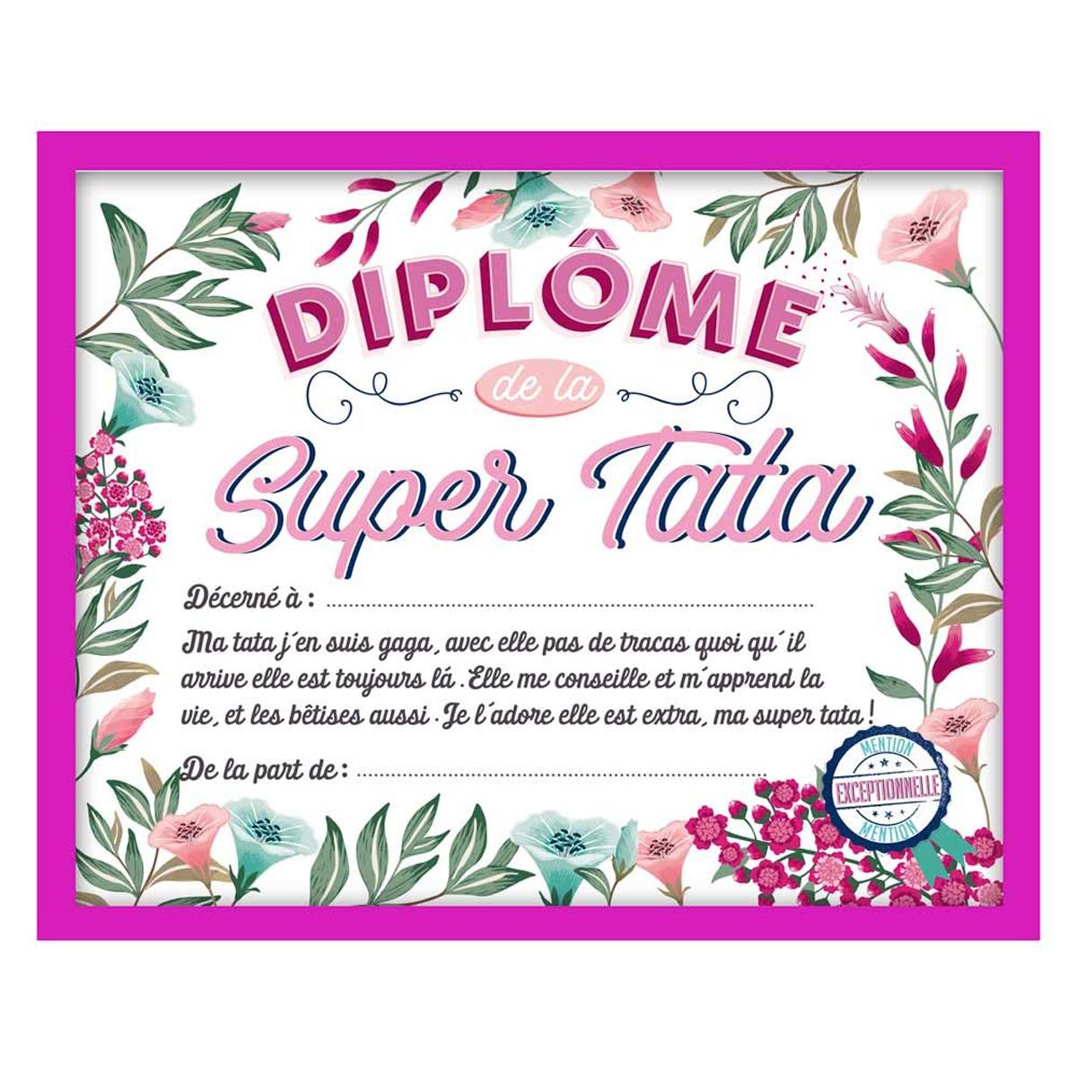 Cadre \'Diplôme de la Super Tata\' rose - 25x20x15 cm - [Q7309]
