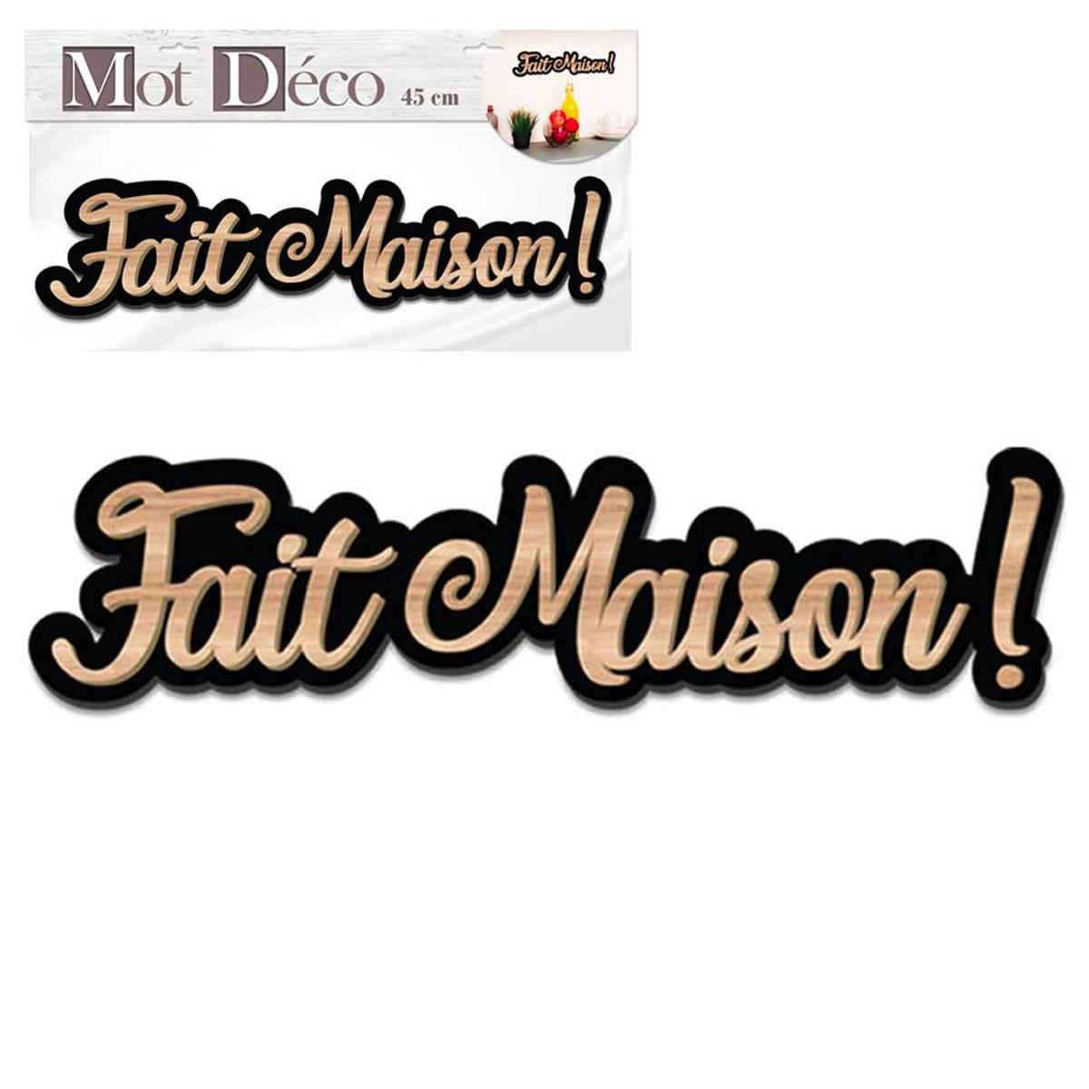 Mot Déco bois 3D \'Fait Maison !\' marron noir - 45x10x1 cm - [Q7319]
