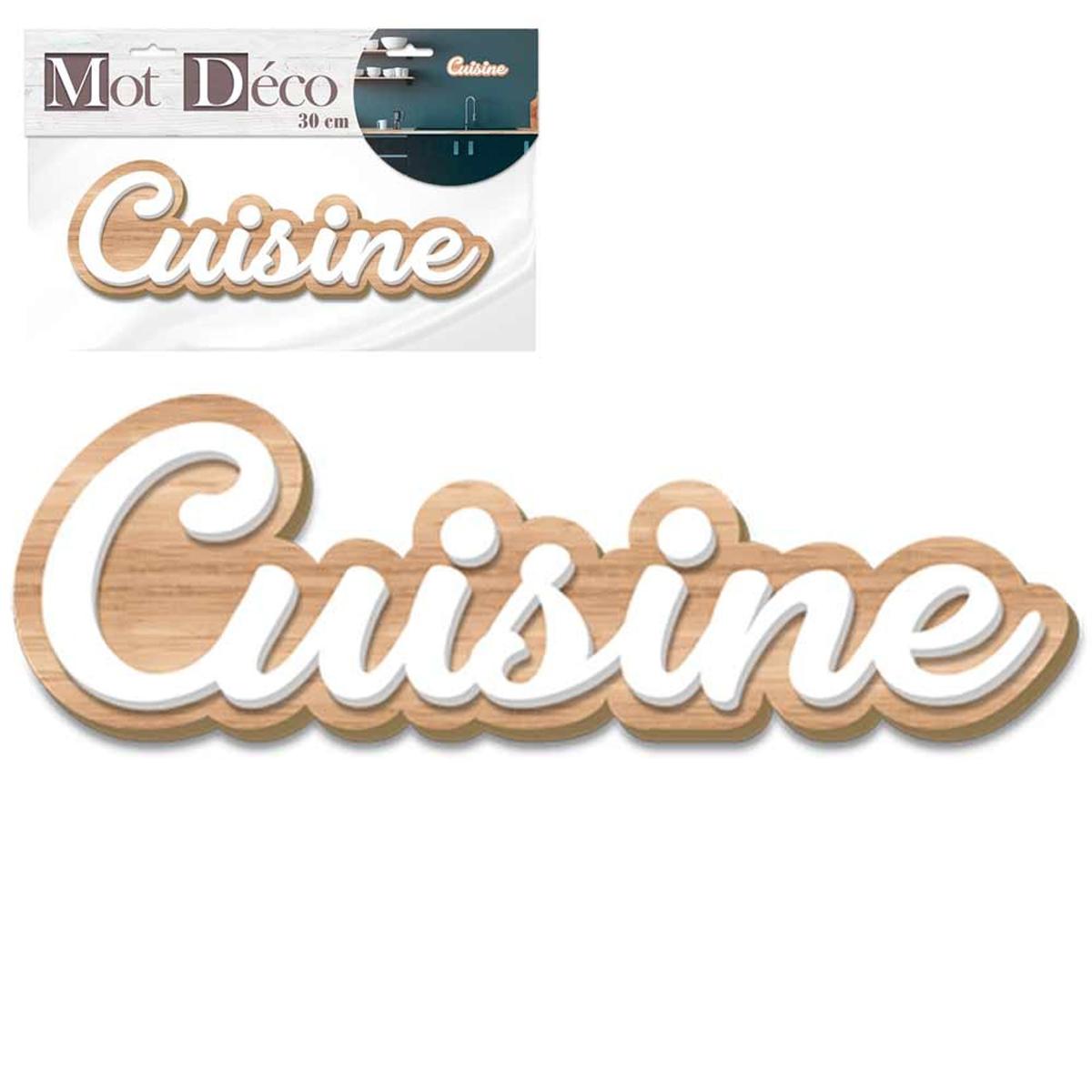 Mot Déco bois 3D \'Cuisine\' blanc bois - 30x10x1 cm - [Q7320]
