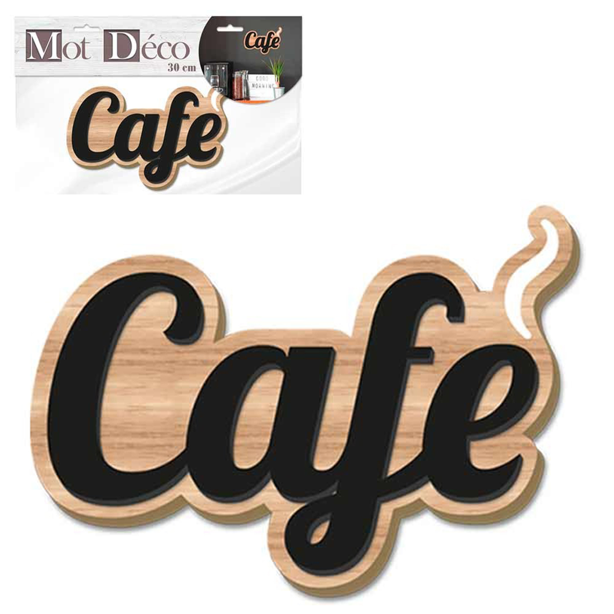 Mot Déco bois 3D \'Café\' noir marron - 30x14x1 cm - [Q7322]