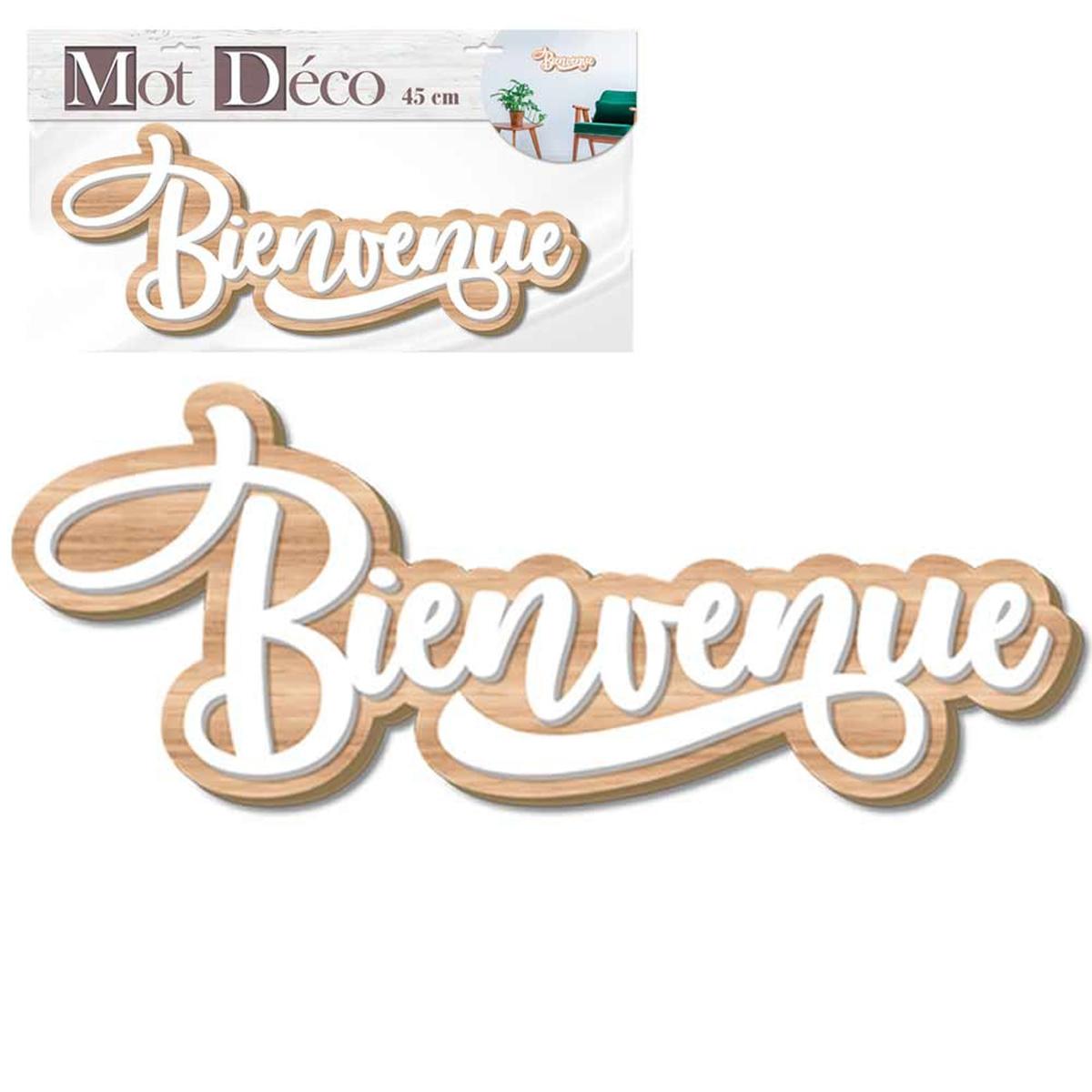 Mot Déco bois 3D \'Bienvenue\' blanc beige - 45x11x1 cm - [Q7327]