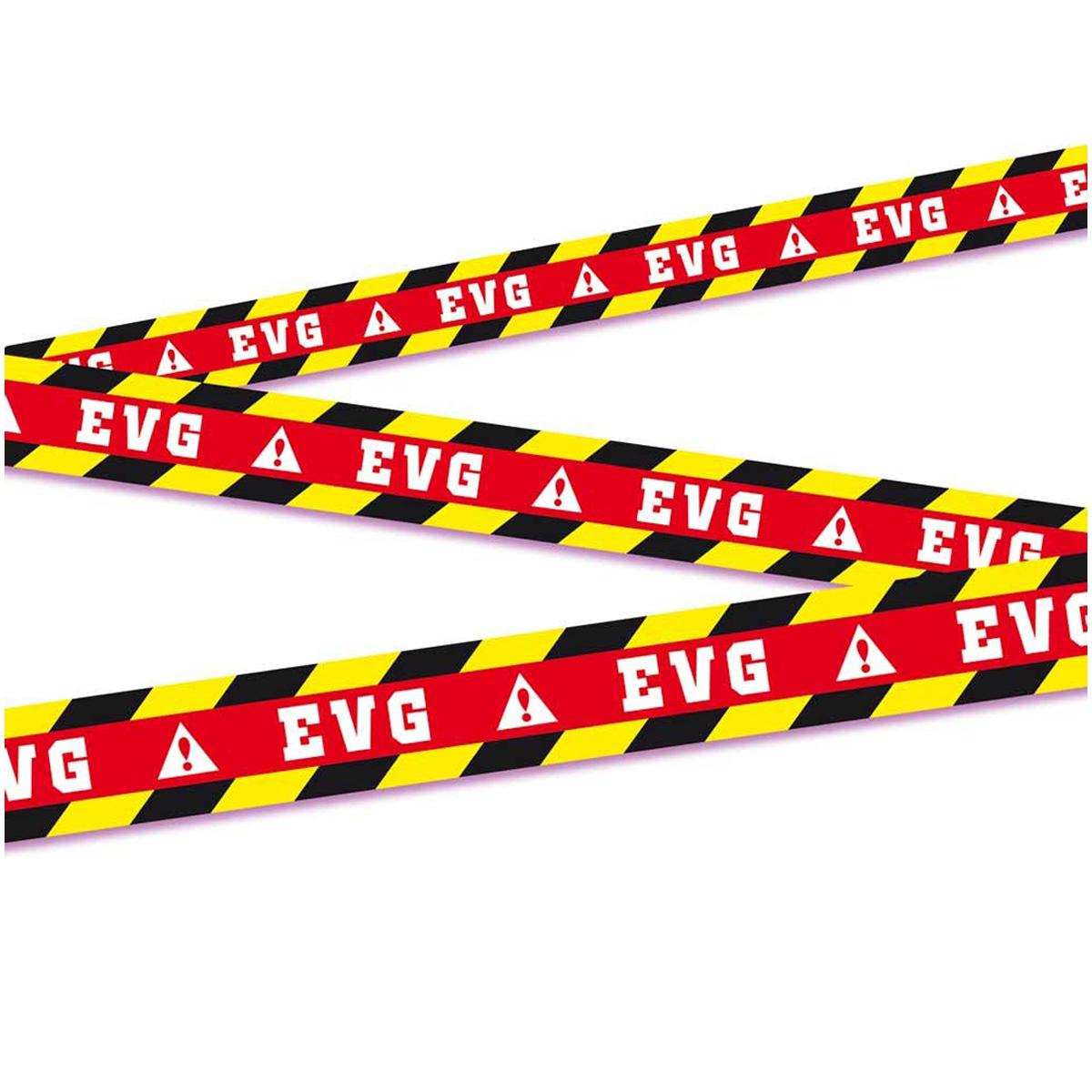 Banderole \' Zone Enterrement de vie de garçon / EVG\' noir rouge - 9 m , 7 cm - [Q7333]