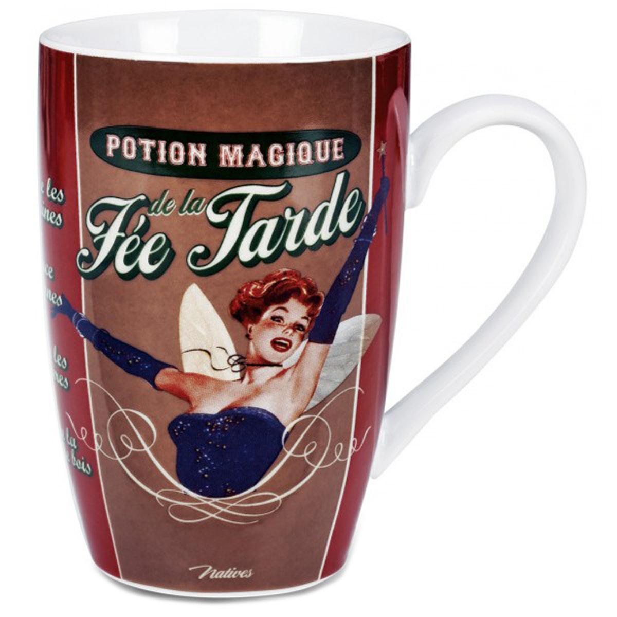 Grand mug porcelaine \'French Vintage\' (Potion magique de la Fée Tarde) - 13x85 cm (46cl) - [Q7366]