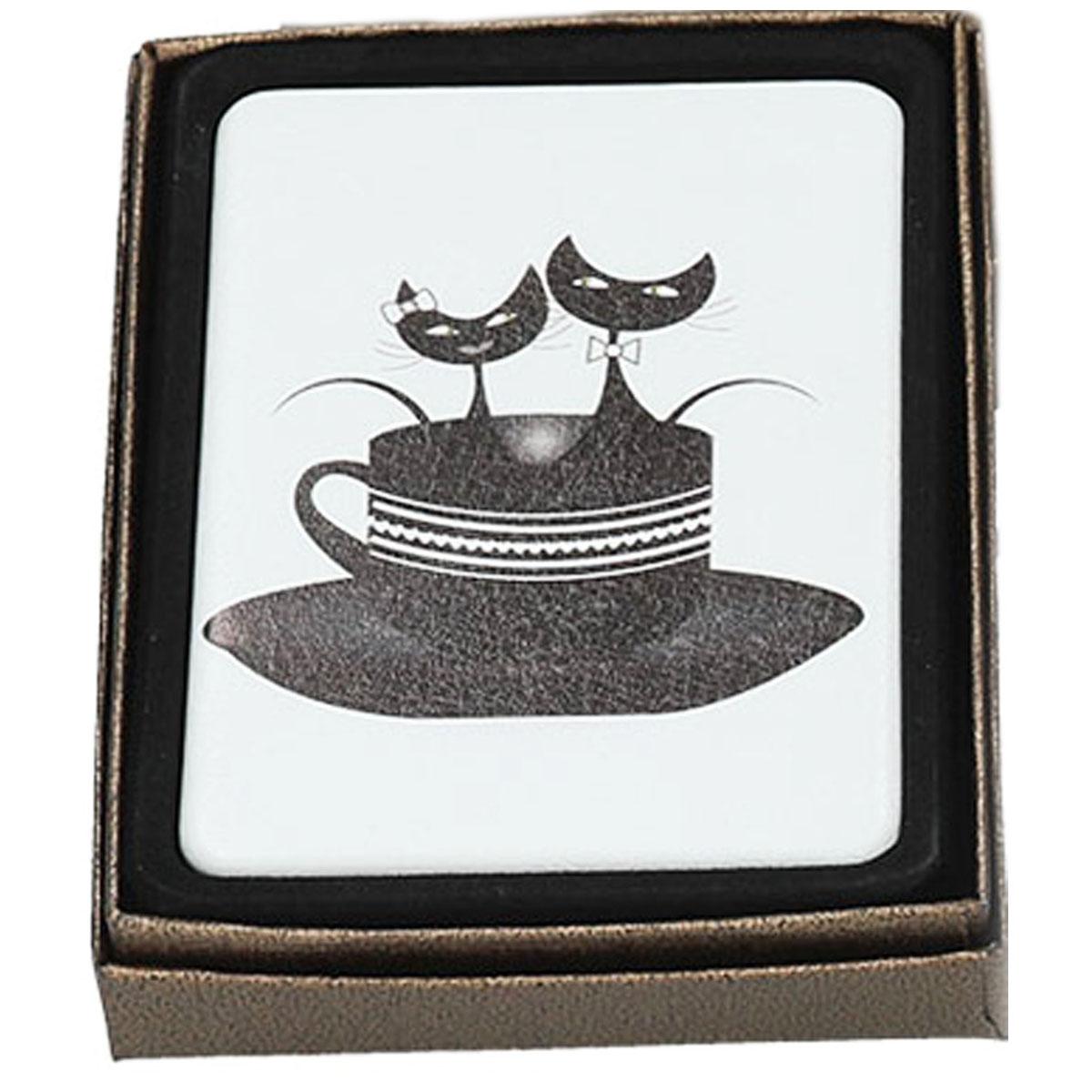 Miroir Créateur \'Les Chats\' blanc noir (dans tasse) - 85x6 cm - [Q7373]