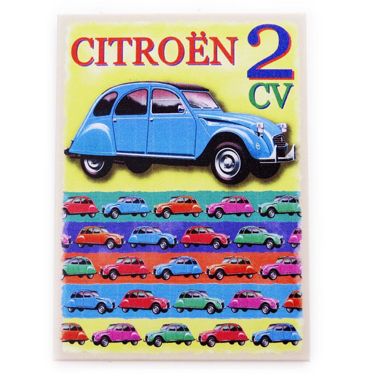 Magnet métal rétro \'Citroen 2 CV\' (Joie de Vivre) - 9x65 cm - [Q7383]