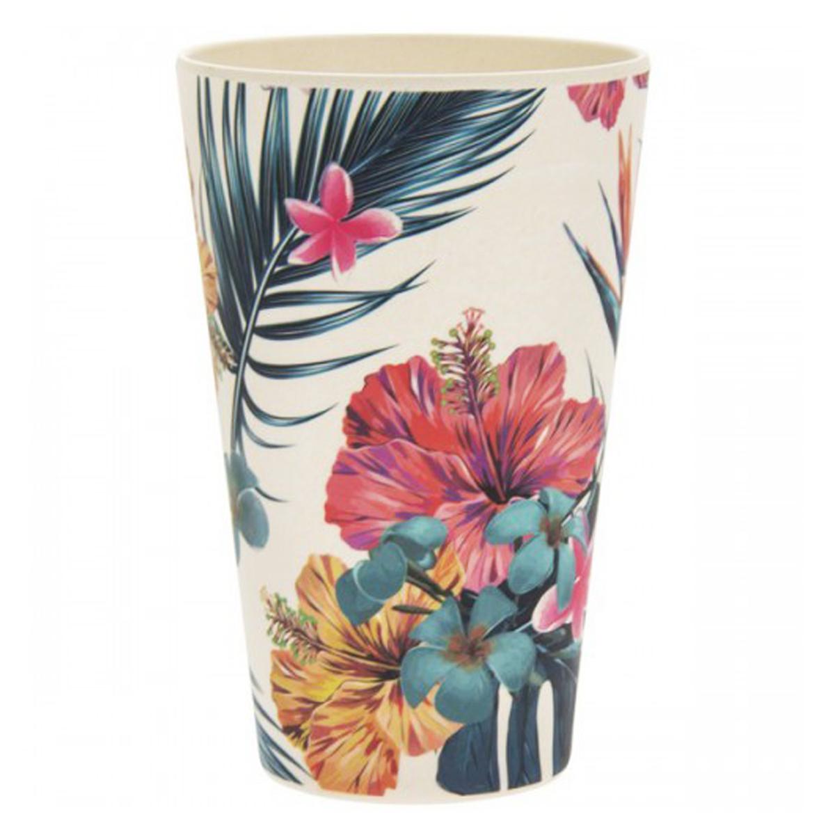 Gobelet verre bambou \'Tropical\' multicolore - hauteur 13 cm (435 ml) - [Q7396]