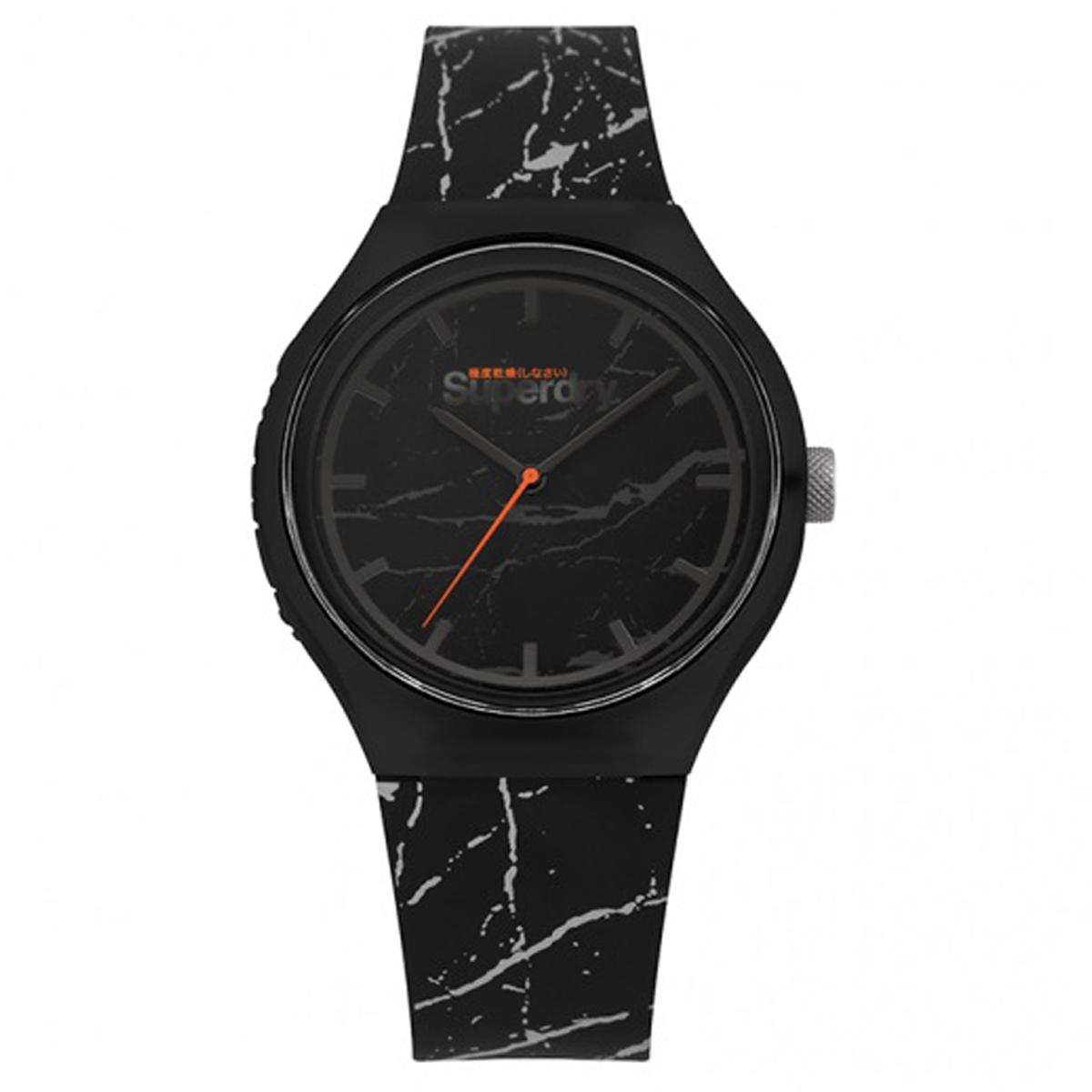 Montre silicone \'Superdry\' noir marbre - 45 mm - [Q7426]