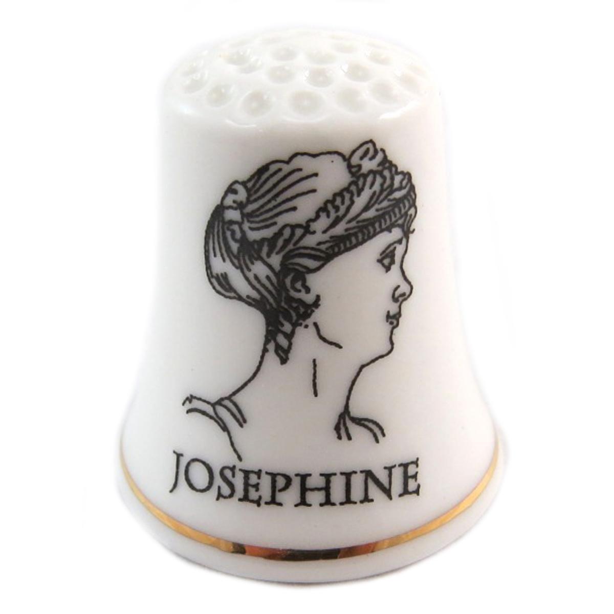 Dé à coudre \'Napoléon\' noir blanc (Joséphine) - 27x23 mm - [Q7469]