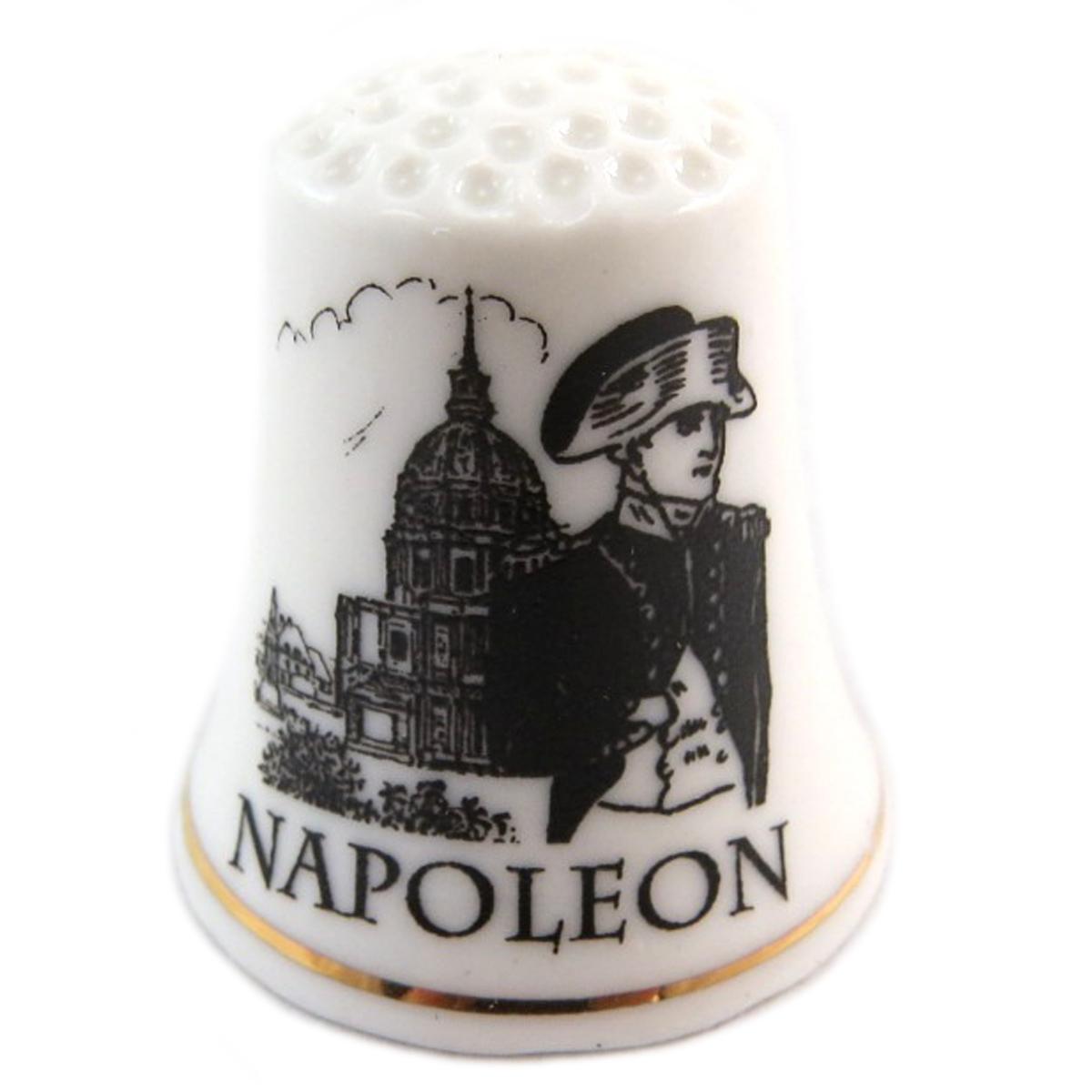 Dé à coudre \'Napoléon\' noir blanc (Napoléon) - 27x23 mm - [Q7473]
