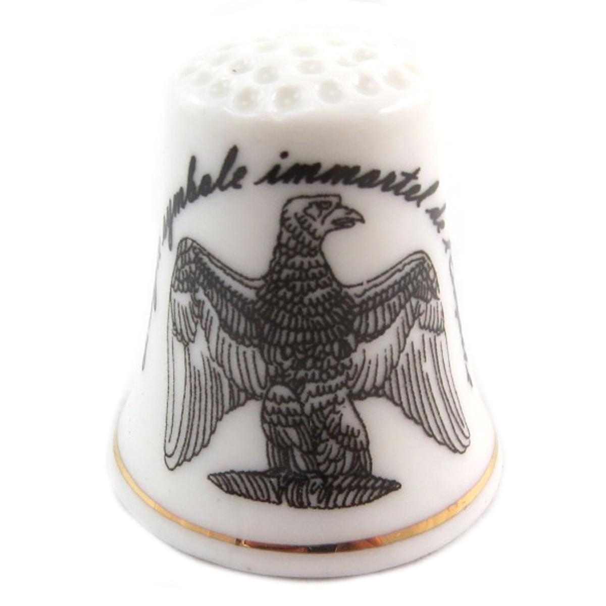 Dé à coudre \'Napoléon\' noir blanc (l\'Aigle symbole immortel de l\'Empire) - 27x23 mm - [Q7474]