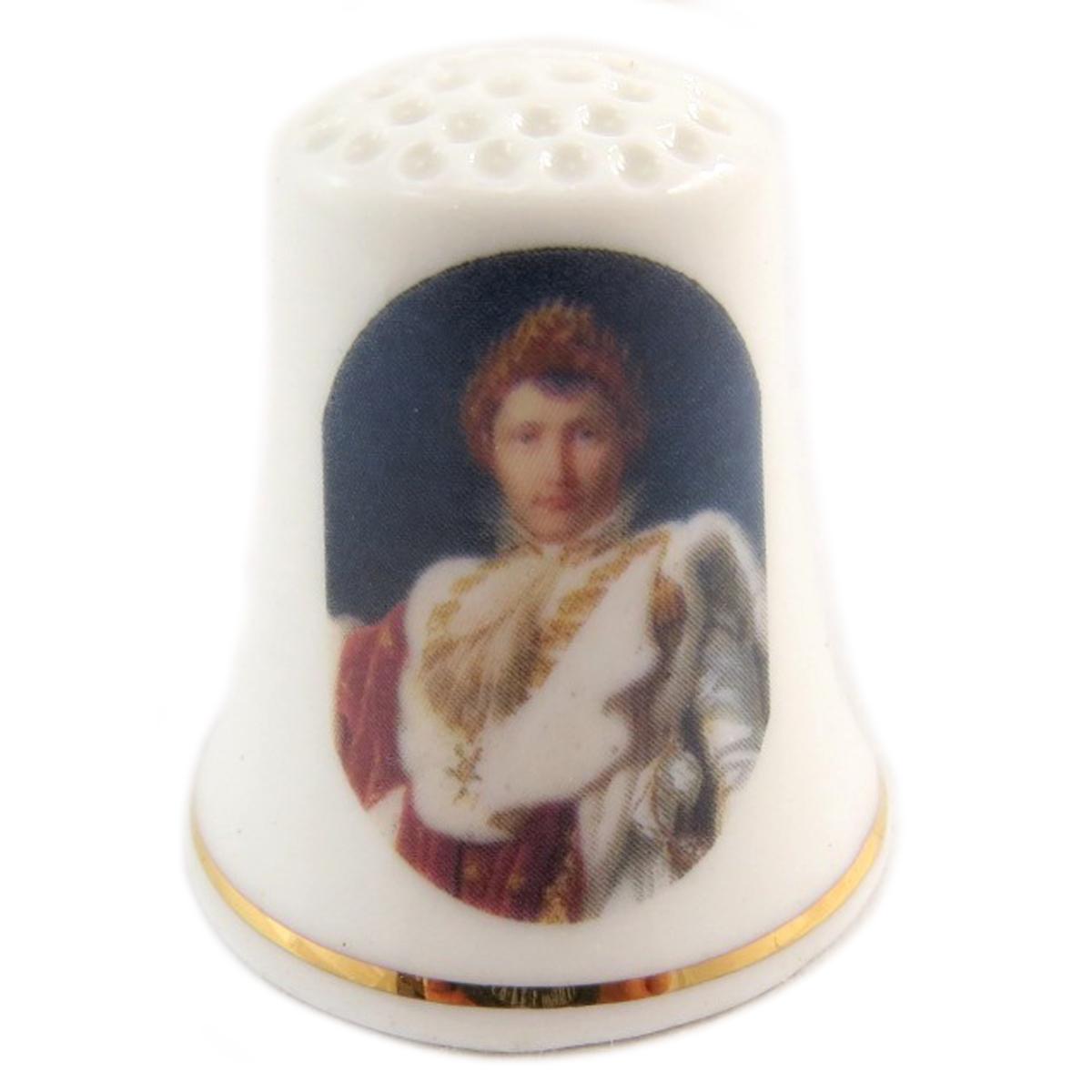 Dé à coudre \'Napoléon\' multicolore blanc (empereur) - 27x23 mm - [Q7475]