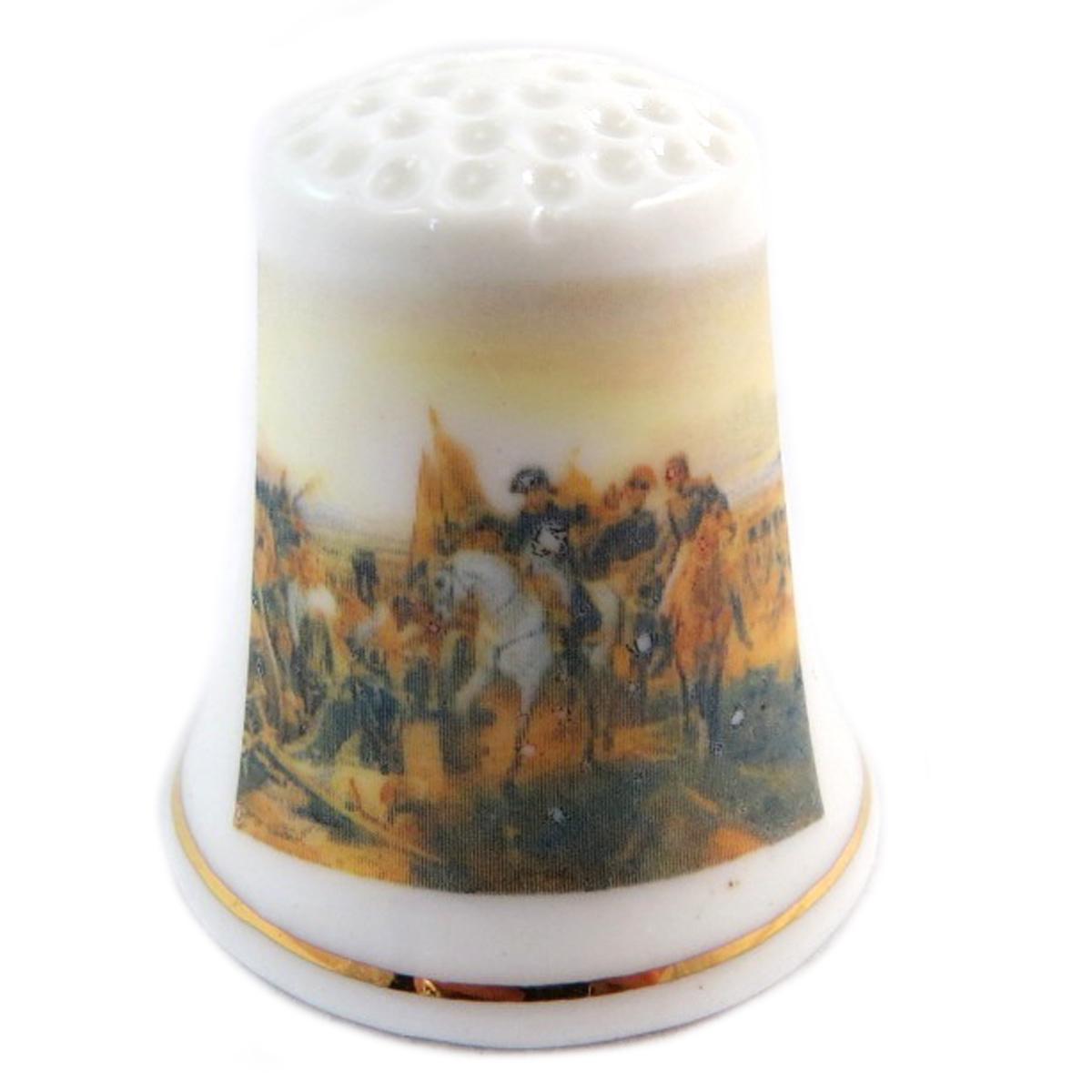 Dé à coudre \'Napoléon\' multicolore blanc (champ de bataille) - 27x23 mm - [Q7478]
