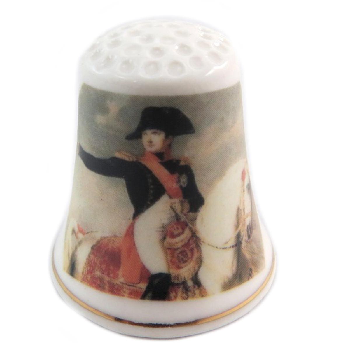 Dé à coudre \'Napoléon\' multicolore blanc (salut à cheval) - 27x23 mm - [Q7479]
