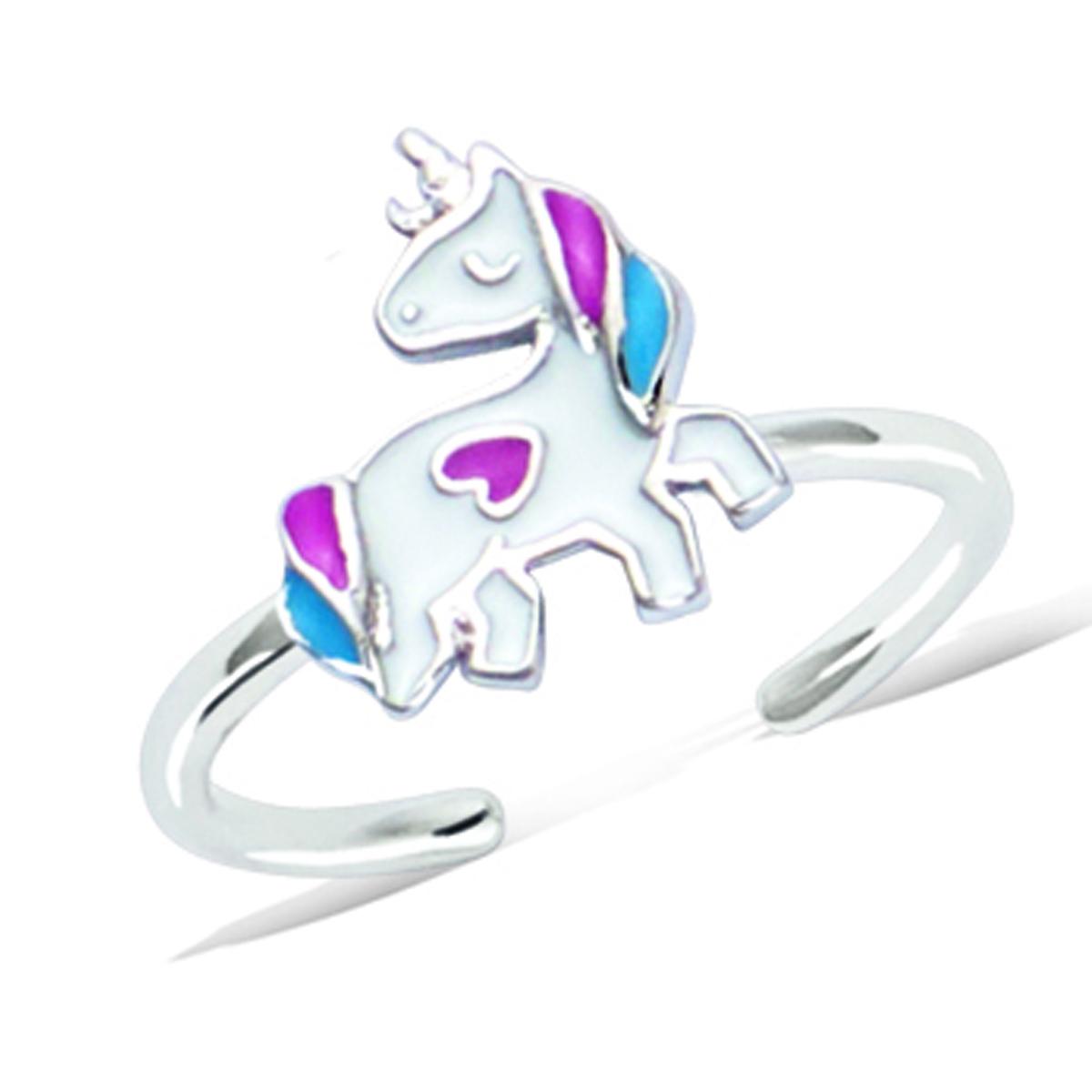 Bague argent enfant \'Licorne My Unicorn\' rose bleu argenté (rhodié) - [Q7522]