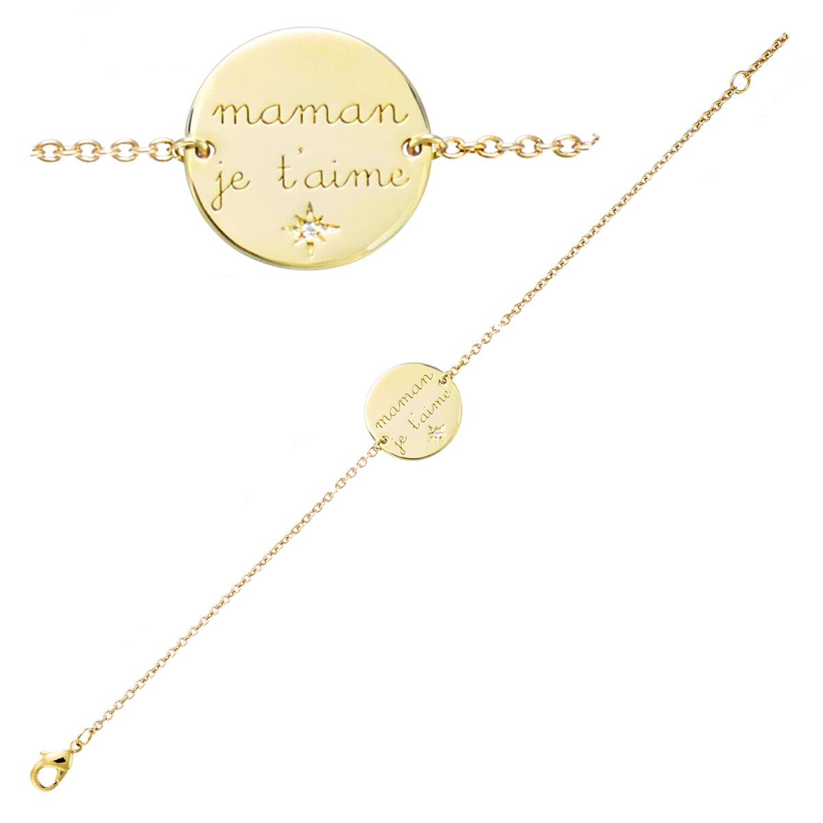 Bracelet Plaqué or \'Maman je t\'aime\' - 15 mm - [Q7536]