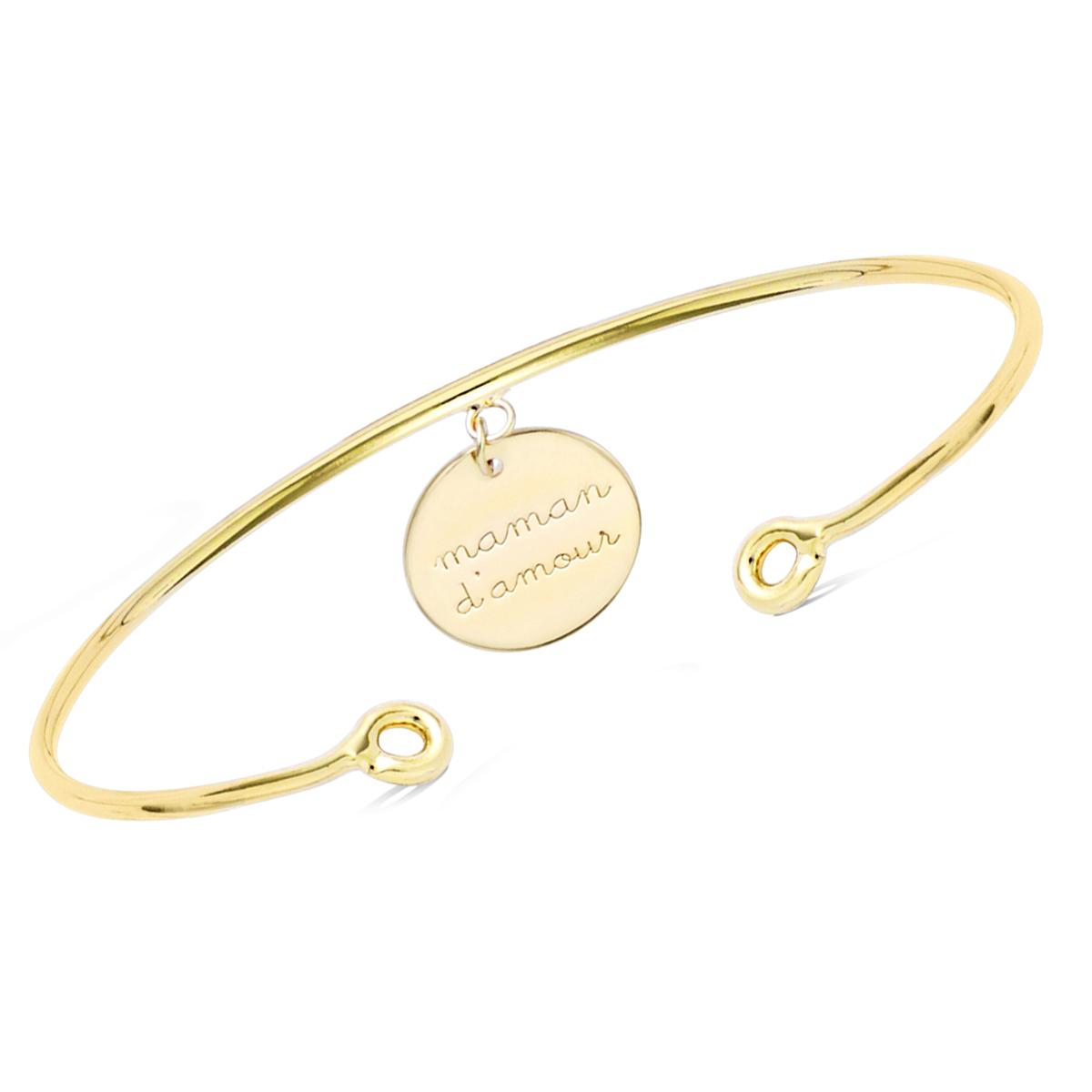 Bracelet Plaqué or \'Maman d\'Amour\' - 55mm, 12 mm - [Q7537]