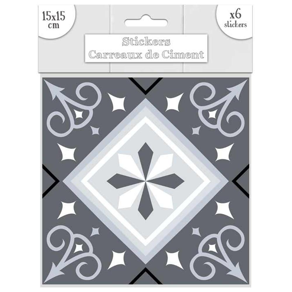 Set de 6 stickers \'Carreaux de Ciment\' gris - 15x15 cm - [Q7656]