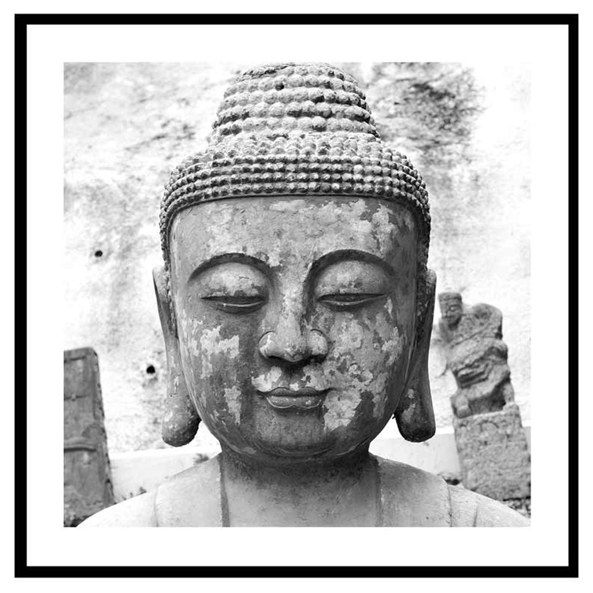 Cadre verre \'Noir & Blanc\' (bouddha en pierre) - 45x45 cm - [Q7658]