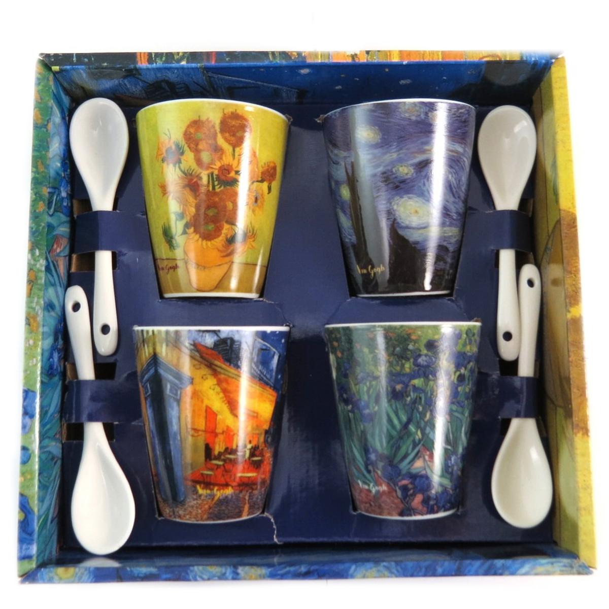 Coffret 4 tasses à café céramique \'Vincent Van Gogh\' - tasse 7x55 cm - [Q7693]