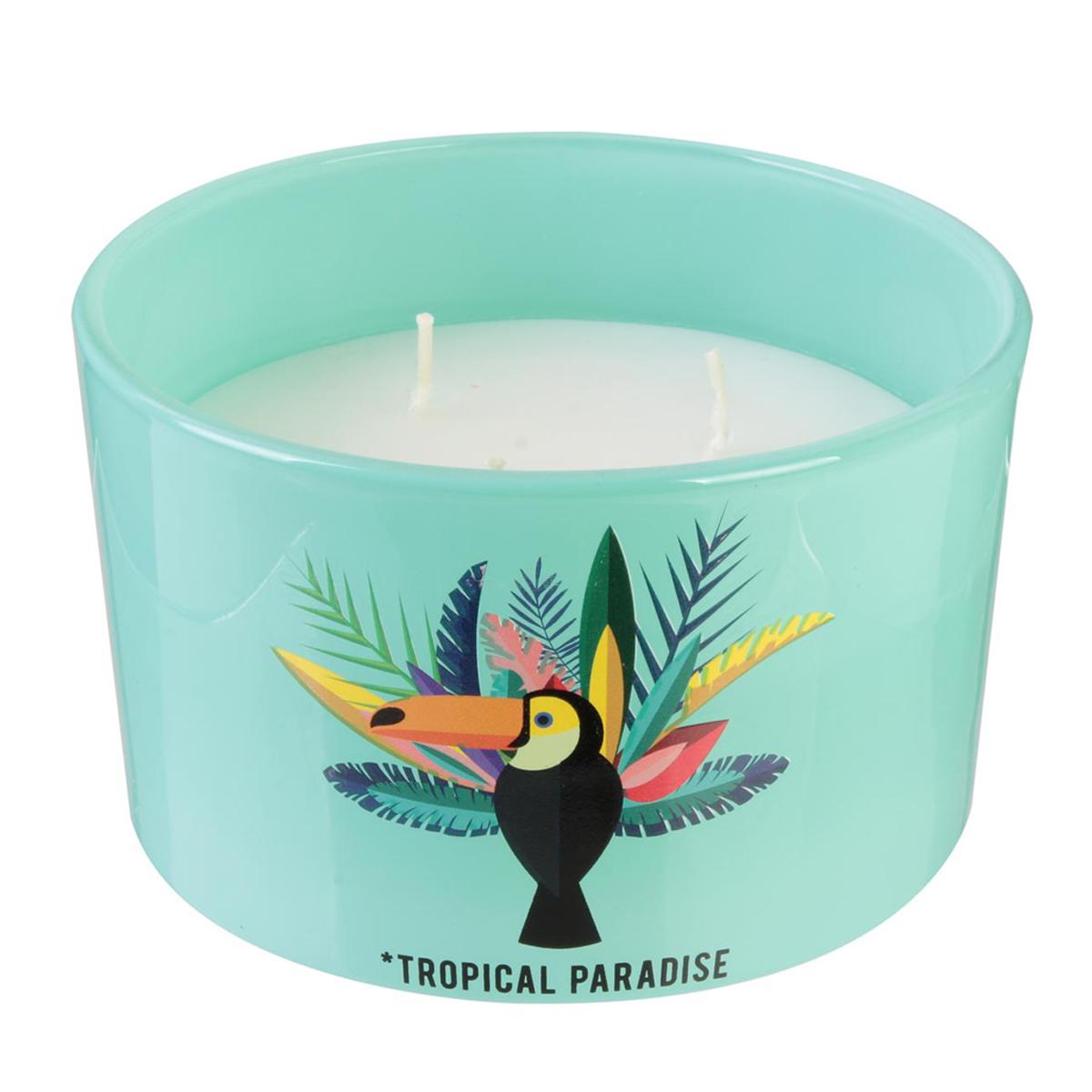 Bougie décorative \'Tropical\' vert blanc (Toucan - Tropical Paradise) 3 mèches - 13x85 cm - [Q7709]