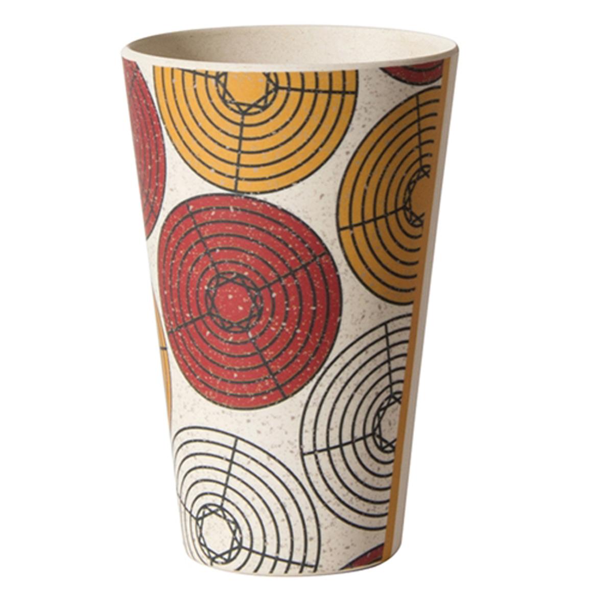 Gobelet verre bambou \'Katmandou\' rouge orange beige - 13x8 cm (435 ml) - [Q7754]