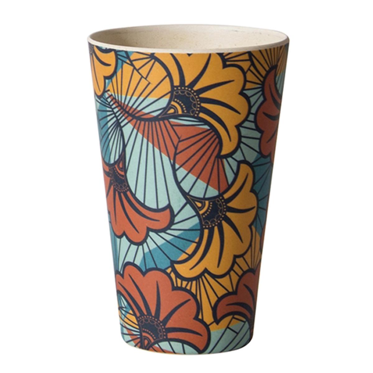 Gobelet verre bambou \'Katmandou\' orange turquoise - 13x8 cm (435 ml) - [Q7755]