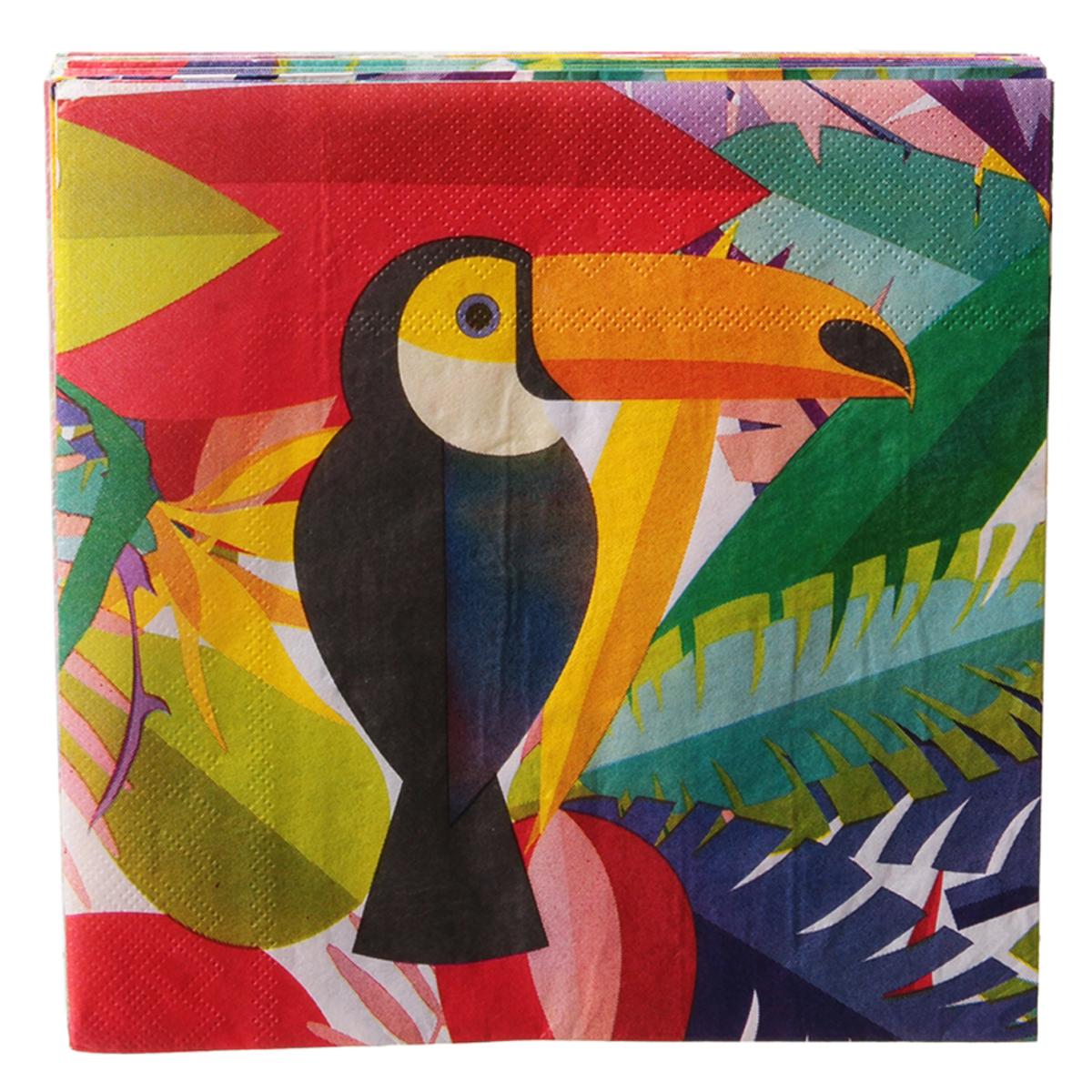 Pack de 20 serviettes en papier \'Tropical\' multicolore (toucan) - 165x165 cm - [Q7764]