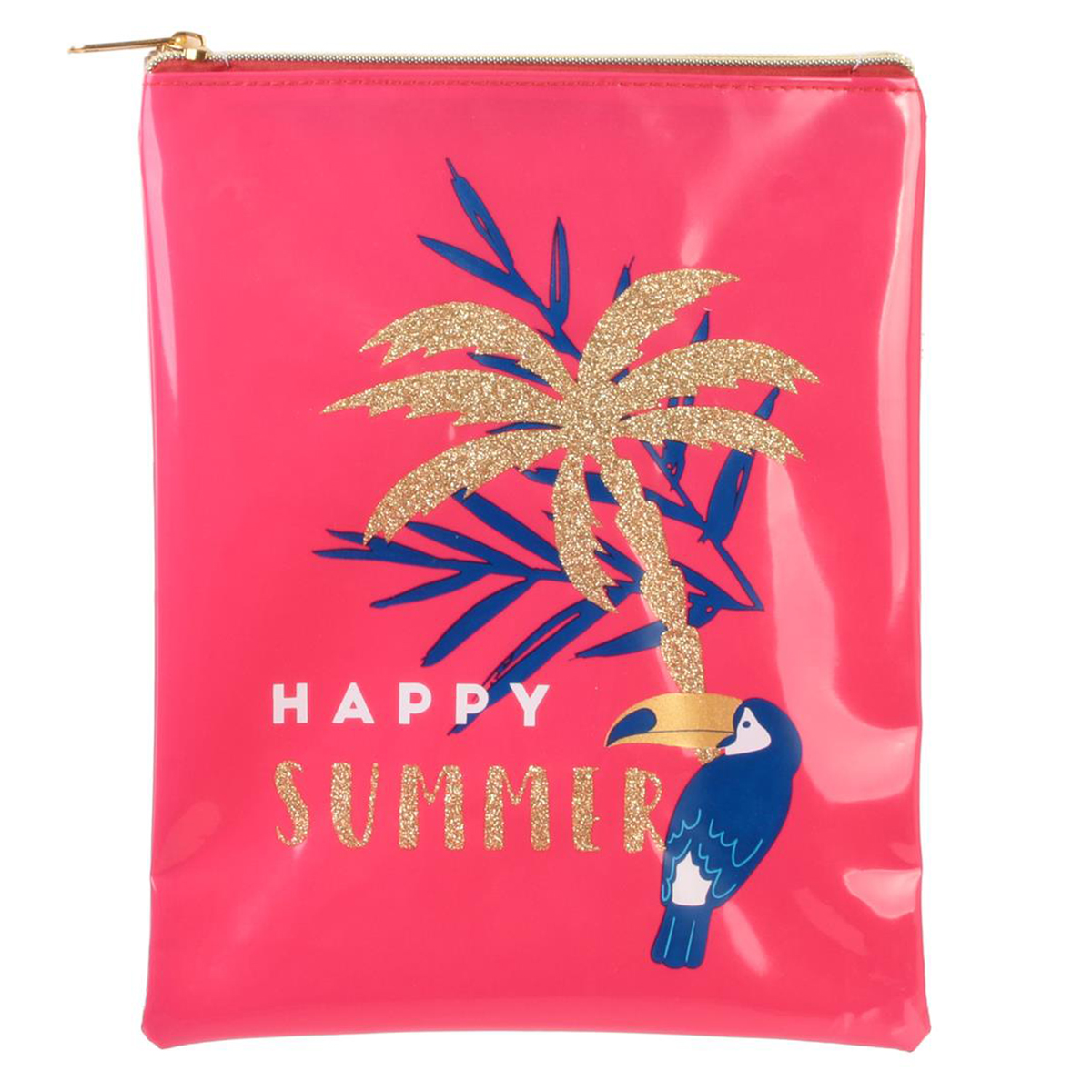 Pochette maillot de bain \'Tropical\' rose (Happy summer) - 23x18 cm - [Q7775]