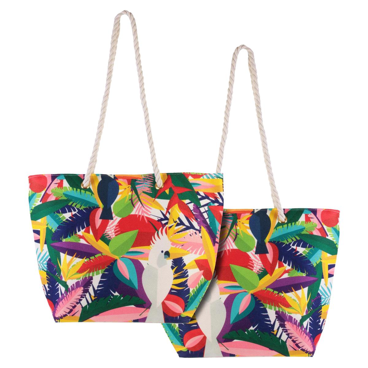 Cabas de plage \'Tropical\' multicolore (Toucan - cacatoes) - 45x35x15 cm - [Q7776]