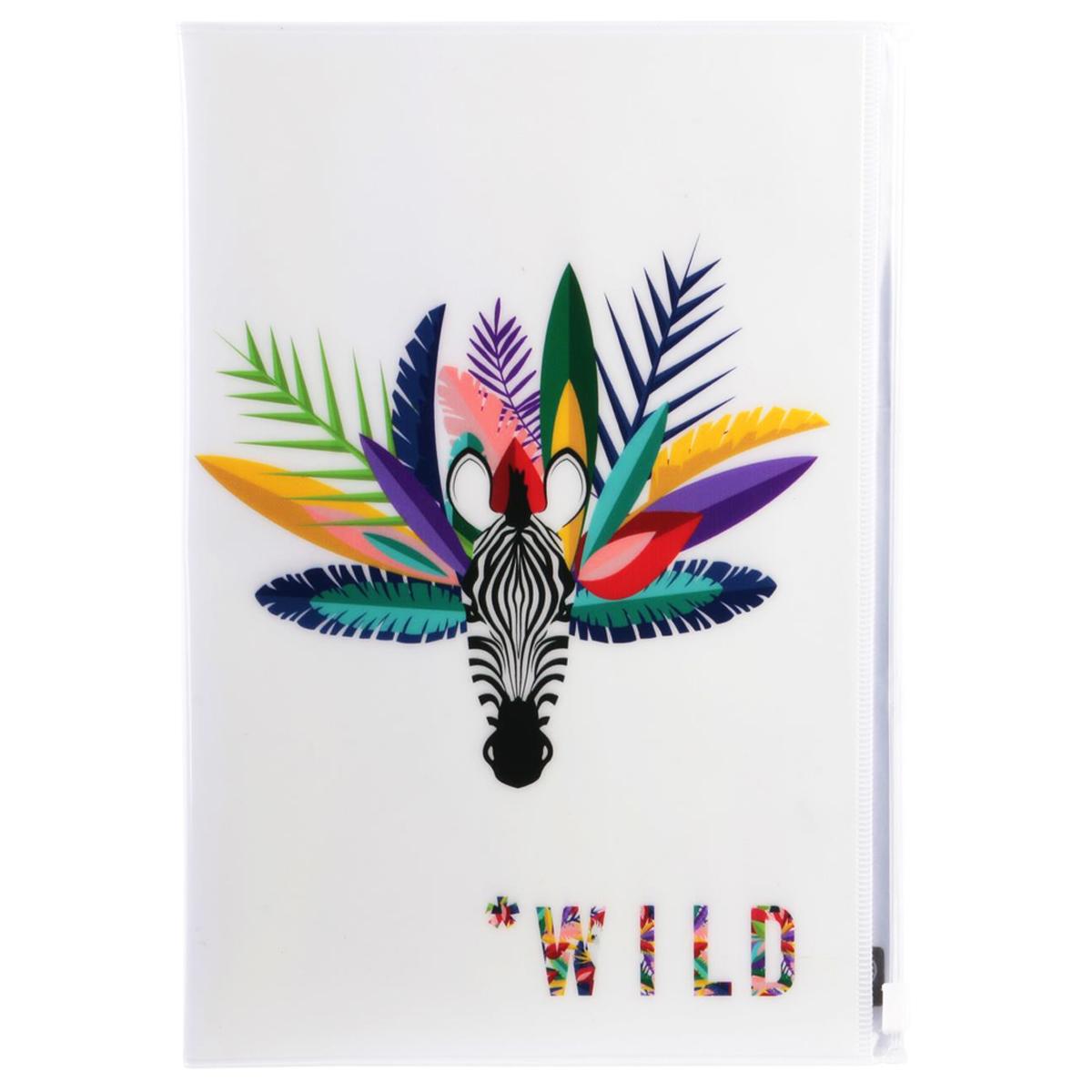 Organisateur de voyage \'Tropical\' blanc (zèbre - wild) - 23x16 cm - [Q7787]