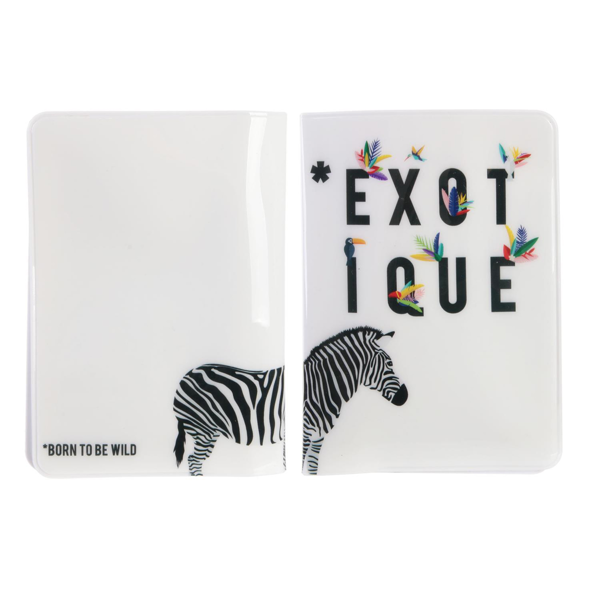 Etui passeport \'Tropical\' blanc multicolore (zèbre-exotique) - 14x10 cm - [Q7792]