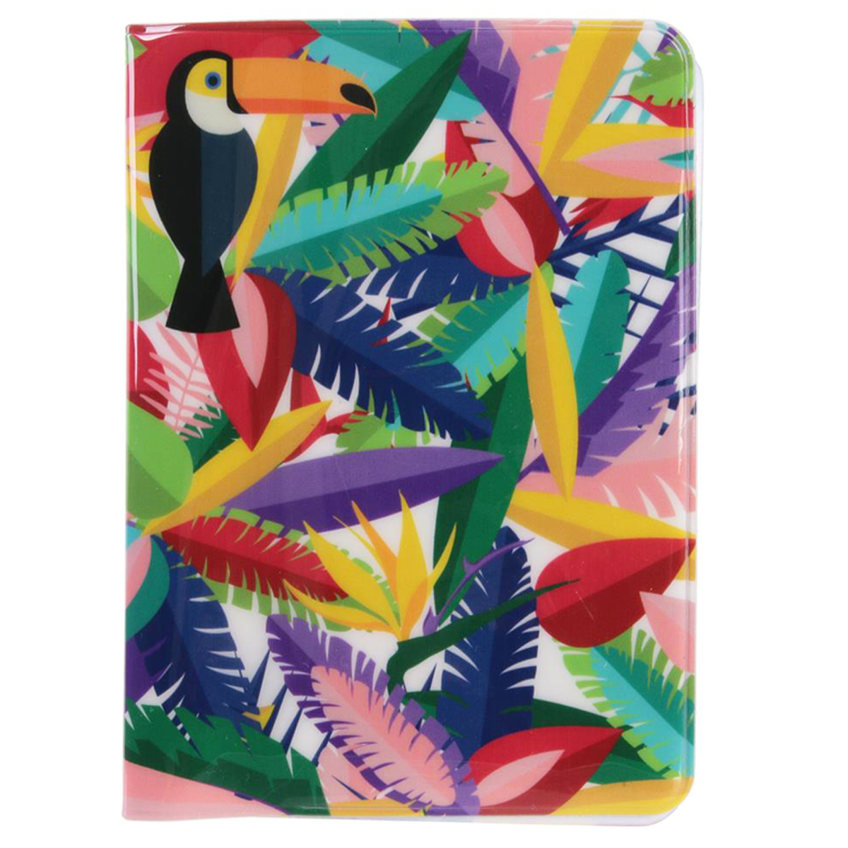 Etui passeport \'Tropical\' multicolore (toucan) - 14x10 cm - [Q7793]