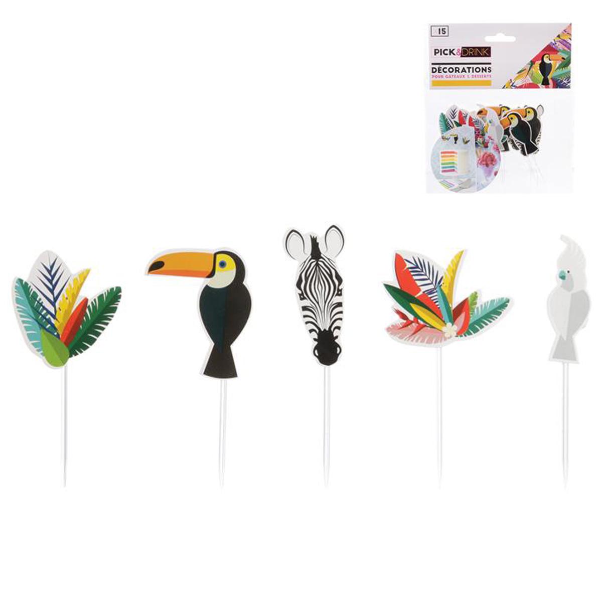 Décoration de gateau \'Tropical\' (toucan, cacatoès, zèbre) - 8 cm (15 pièces) - [Q7794]