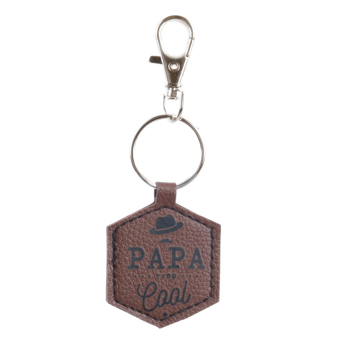 Porte-clés hexagone \'Papa\' marron (Papa trop cool) - 5x4 cm - [Q7797]