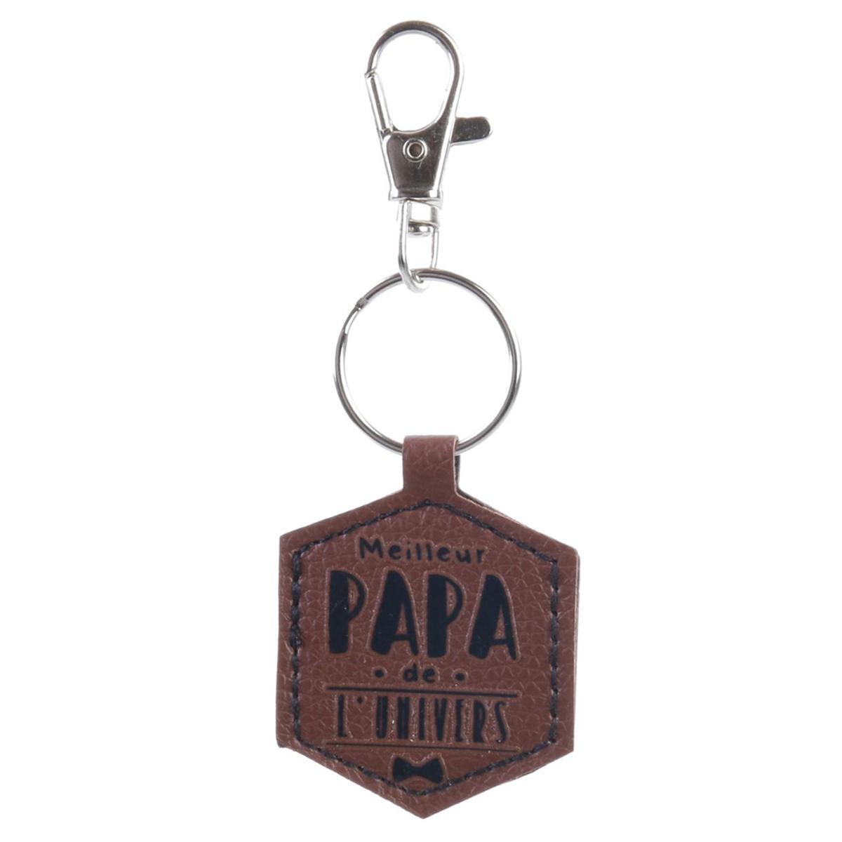 Porte-clés hexagone \'Papa\' marron (Meilleur Papa de l\'univers) - 5x4 cm - [Q7798]