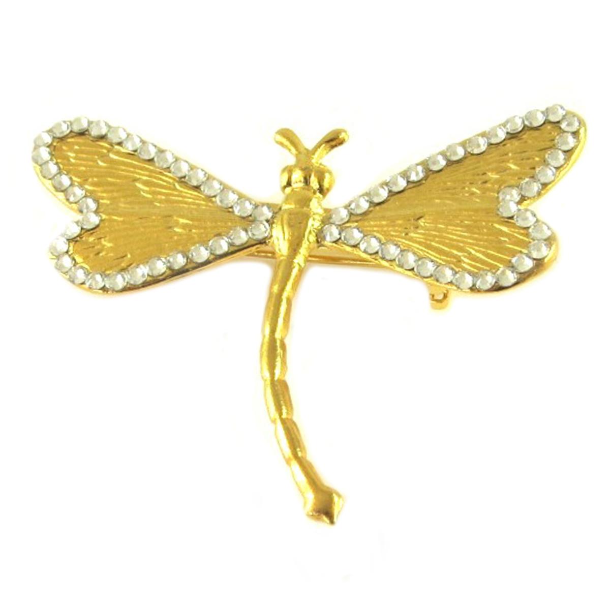 Broche artisanale \'Athena\' blanc doré (libellule) - 50x40 mm - [Q7838]