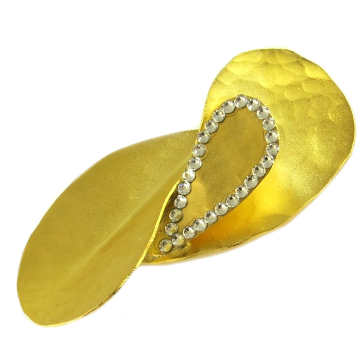 Broche artisanale \'Athena\' blanc doré  - 55x25 mm - [Q7840]