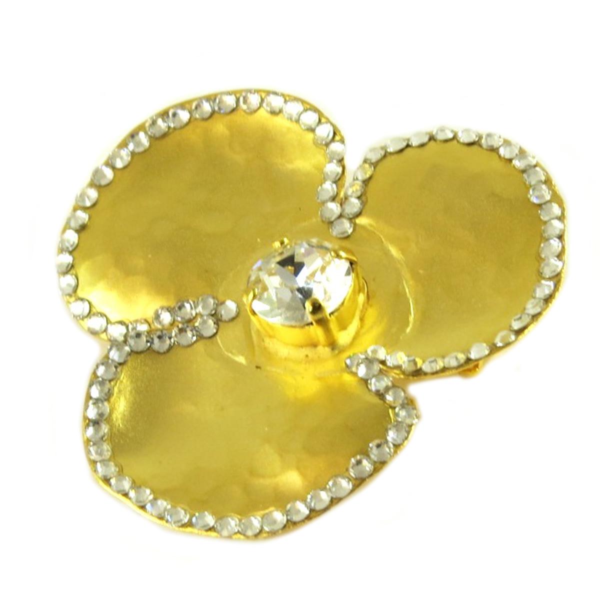 Broche artisanale \'Athena\' blanc doré (fleur) - 40x40 mm - [Q7845]