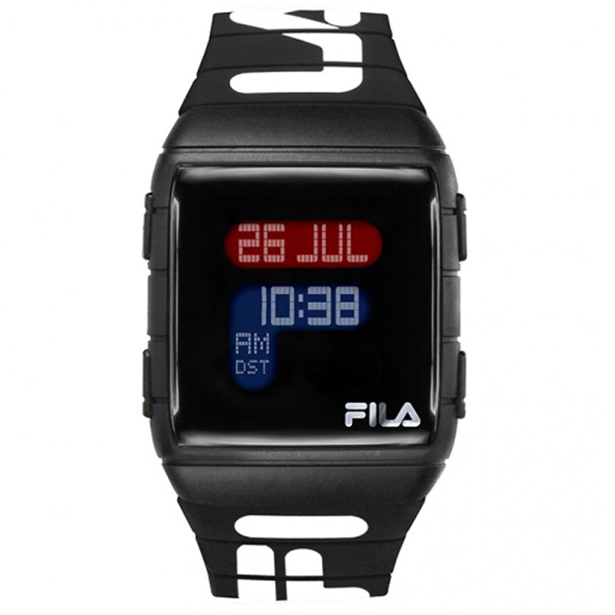 Montre silicone \'Fila\' noir  - 36 mm ( 25 fuseaux horaires) - [Q7974]