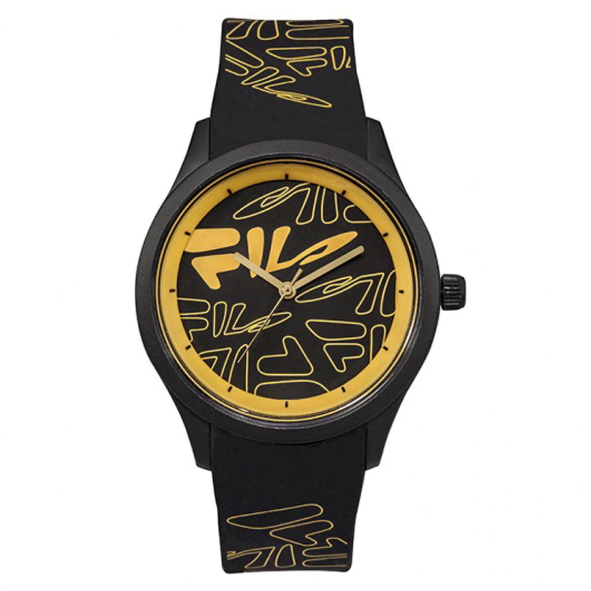 Montre silicone \'Fila\' noir jaune - 40 mm - [Q7976]