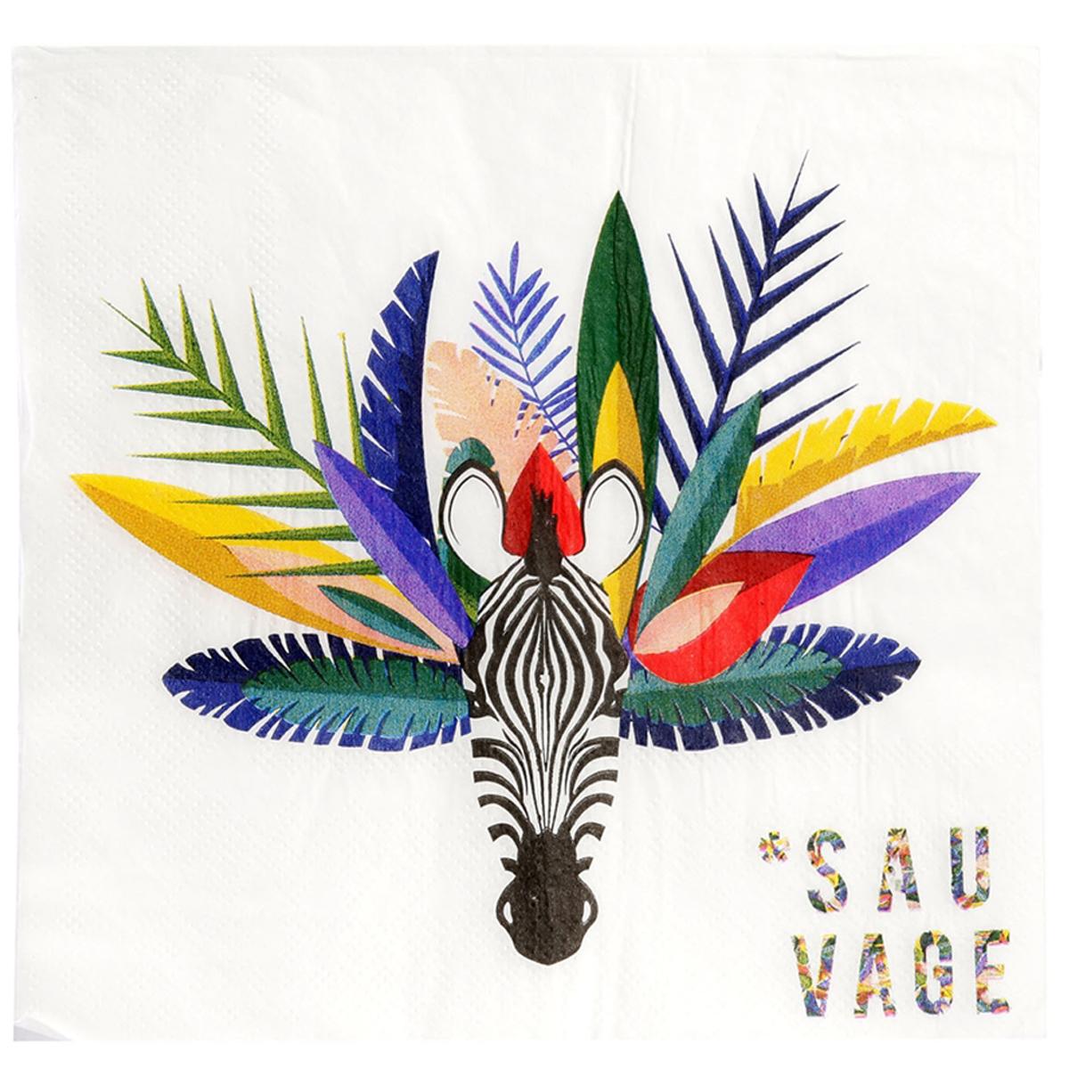 Pack de 20 serviettes en papier \'Tropical\' blanc multicolore (zèbre - sauvage) - 165x165 cm - [Q8000]
