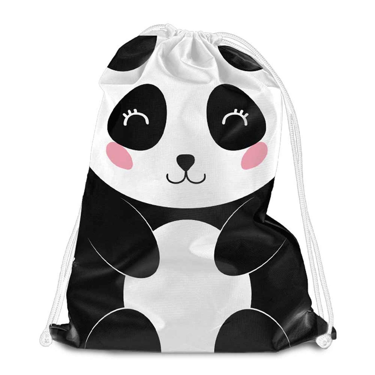 Sac de détente \'Panda\' noir blanc - 38x34 cm - [Q8002]