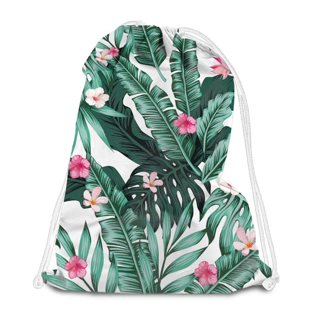 Sac de détente \'Tropical\' vert rose - 38x34 cm - [Q8006]