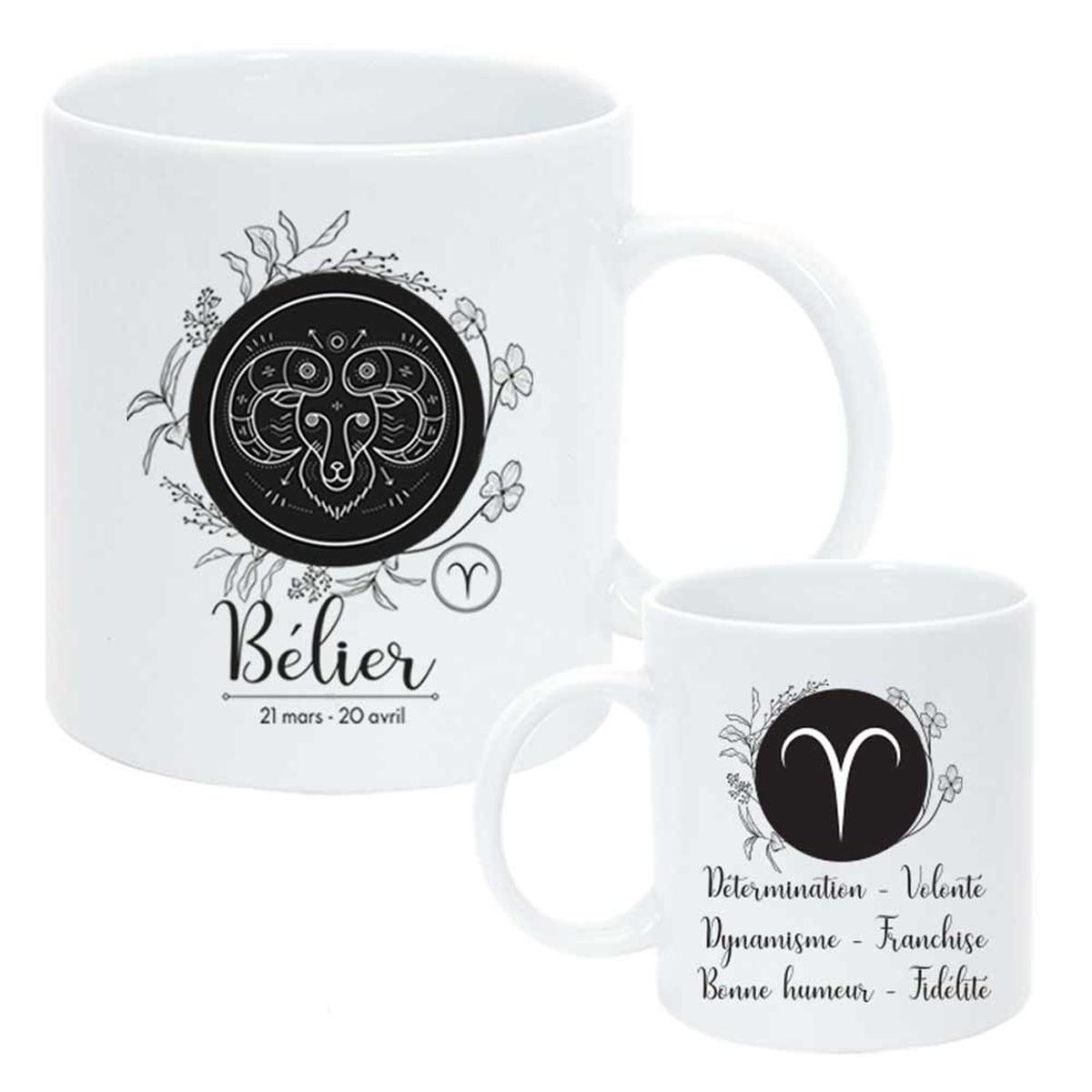 Mug céramique \'Horoscope\' blanc noir (Bélier) - 95x8 cm - [Q8058]