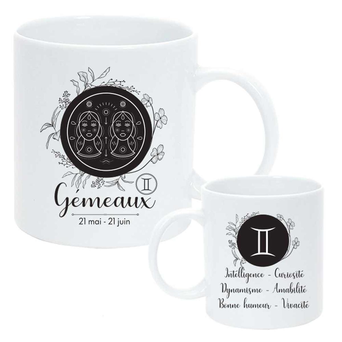 Mug céramique \'Horoscope\' blanc noir (Gémeaux) - 95x8 cm - [Q8060]