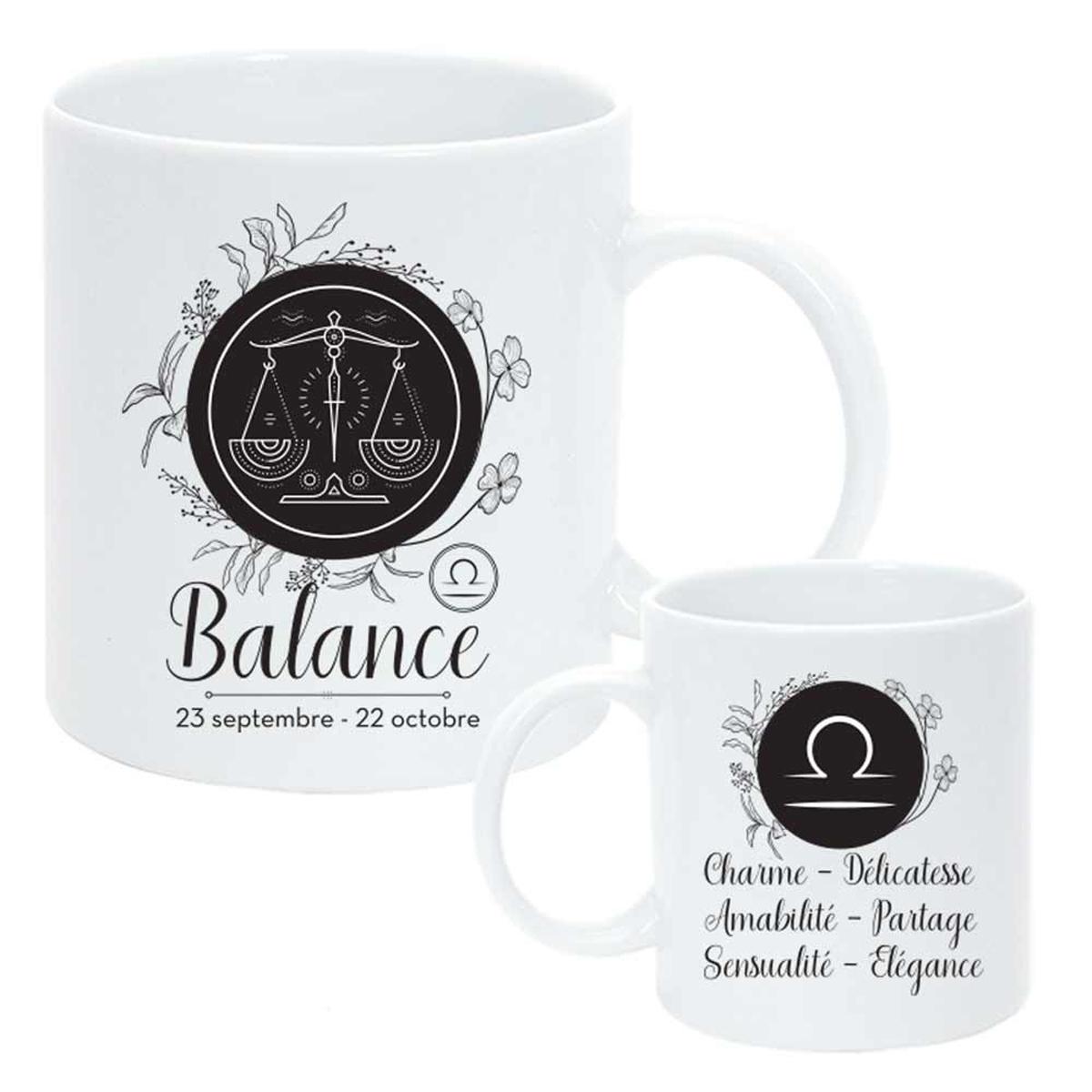Mug céramique \'Horoscope\' blanc noir (Balance) - 95x8 cm - [Q8064]