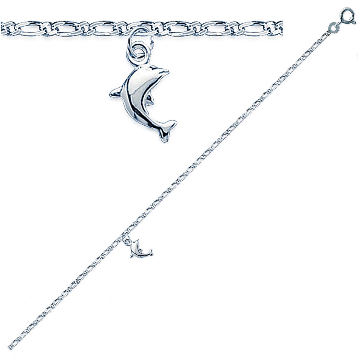 Chaîne Cheville Argent \'Dauphin\'  argenté (rhodié) - 25 cm 9x7 mm - [Q8093]